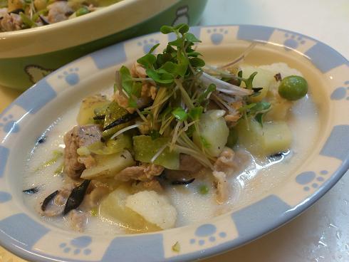 豚肉とジャガイモの豆乳シチュー