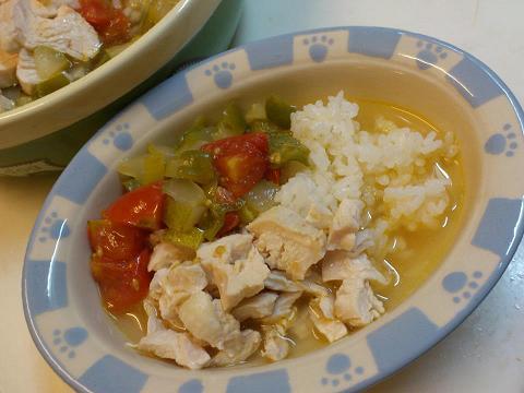 茹で鶏と夏野菜の炒め煮