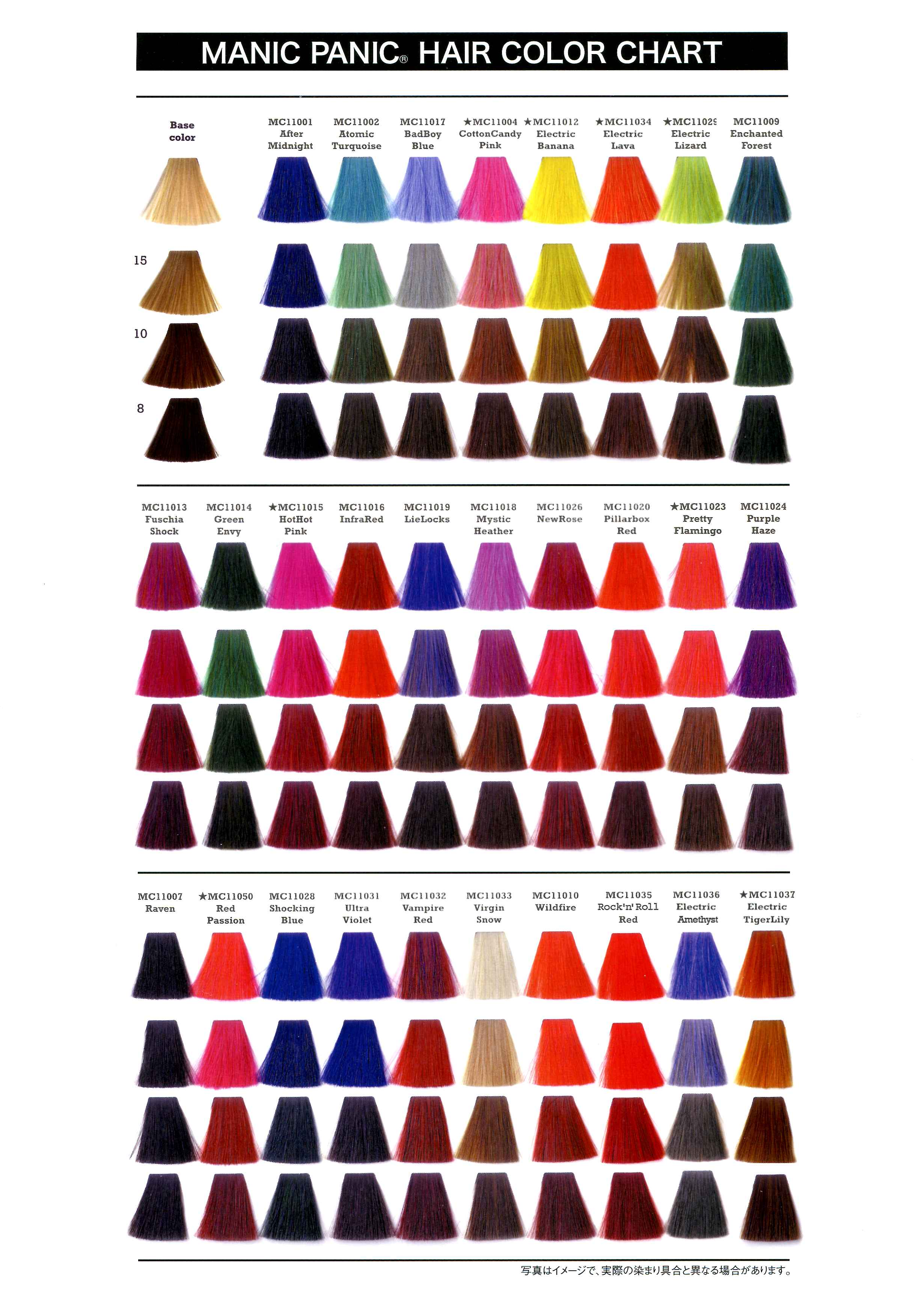 Hair Color Chart Manic Panic Hairstyle Pinterest Manic Panic