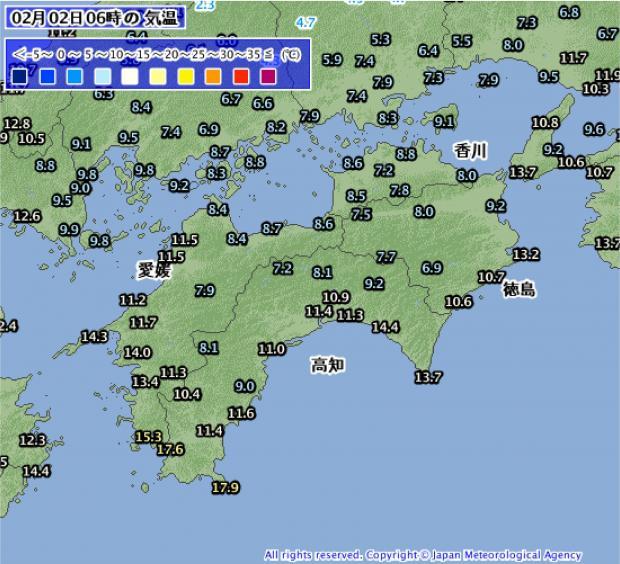 2014年2月2日06時の南海道の気温分布