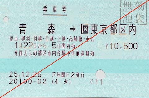 あけぼの乗車券