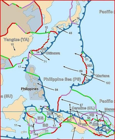 フィリピン海プレート境界図