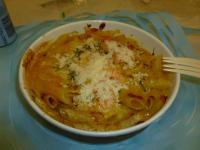 7-11の焗烤鮮蝦筆管麵にパルメザンチーズ