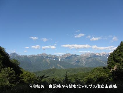 白沢峠から望む北アルプス後立山連峰の一望