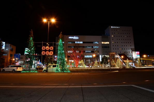 2012年12月20日 上田駅お城口 六文銭ライトアップ