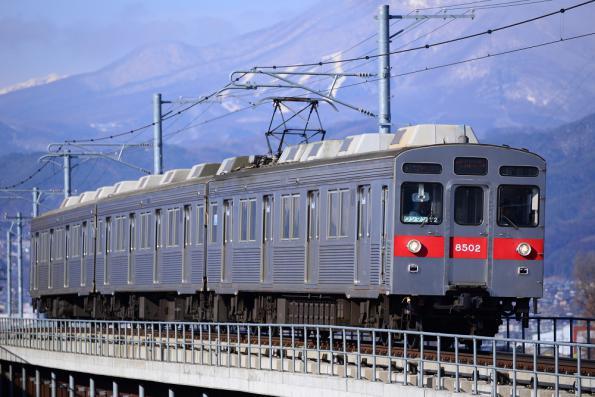 2013年1月7日 長野電鉄長野線 柳原~村山 8500系T2編成
