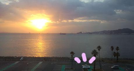 関門海峡の朝日