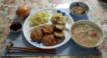 晩御飯 天ぷらとシチュー