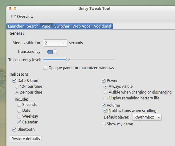 Unity Tweak Tool Ubuntu カスタマイズ パネル