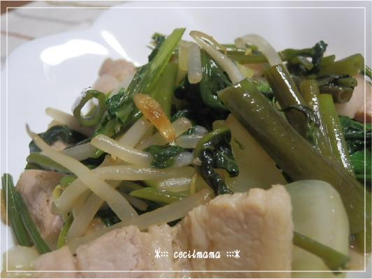 豚ばらと空芯菜_1