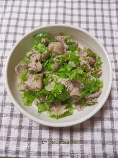 豚肉とわさび菜の炒め物_1