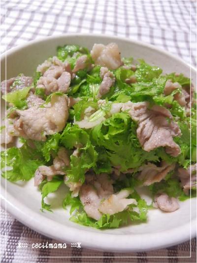 豚肉とわさび菜の炒め物_2