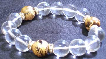 虎目+水晶(竜彫り)