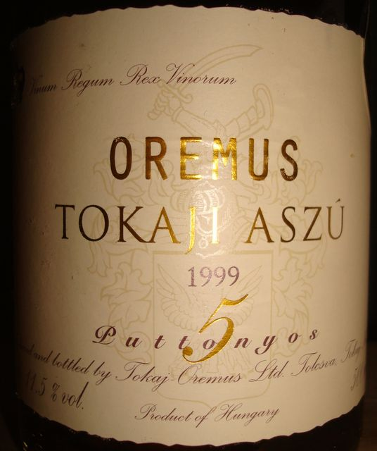Tokaji Aszu 5puttonyos Oremus 1999
