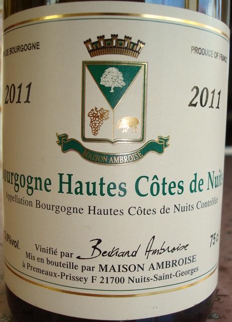 Bourgogne Hautes Cotes de Nuits Blanc Maison Ambroise 2011