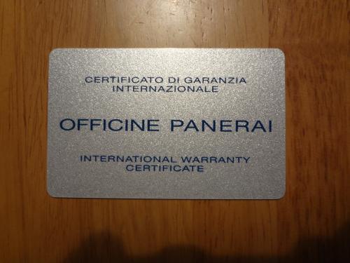 パネライ 国際保証書 3