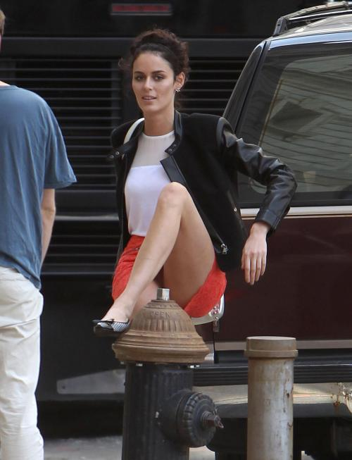 Nicole Trunfio posing on a fire hydrant for an HM PS (4)