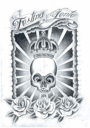 タトゥー TATTOO スカル skull チカーノ chicano ブラック&グレー 王冠 バラ