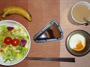 チョコミルクレープ,サラダ,目玉焼き,バナナ,コーヒー
