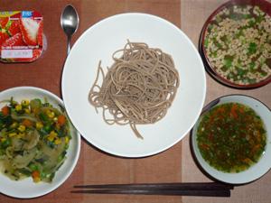 日本蕎麦(二八蕎麦),玉葱とほうれん草とミックスベジタブルのソテー,納豆汁,ヨーグルト