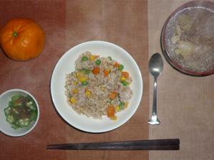 野菜チャーハン,オクラのおひたし,豚汁,みかん