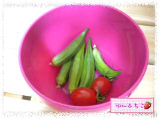 ちこちゃんの夏野菜観察日記2012★7★初収穫♪-5