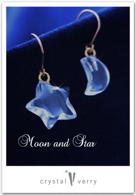 月と星のピアス クリスタル ベリー