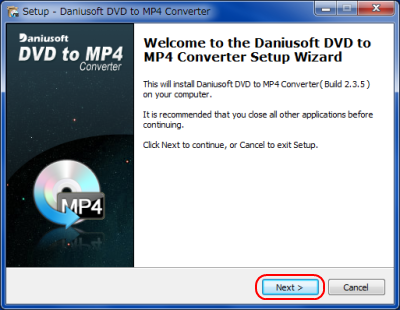 Daniusoft DVD to MP4 Converter インストール
