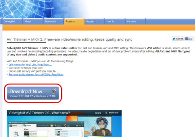 SolveigMM AVI Trimmer + MKV ダウンロードページ