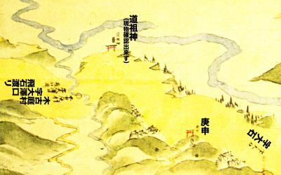 浦賀道見取絵図:木古庭村境付近