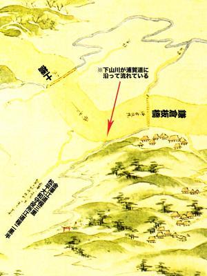 浦賀道見取絵図:鎌倉板橋付近