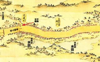 東海道分間延絵図:四ツ谷大山道辻付近
