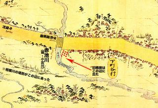 東海道分間延絵図:相模川旧橋脚付近