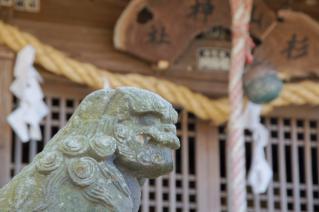 上山口・杉山神社:吽の狛犬と拝殿