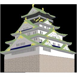 大阪府と大阪城のイラストアイコン 無料素材 マップラボ 地図アイコンを無料ダウンロード Maplab