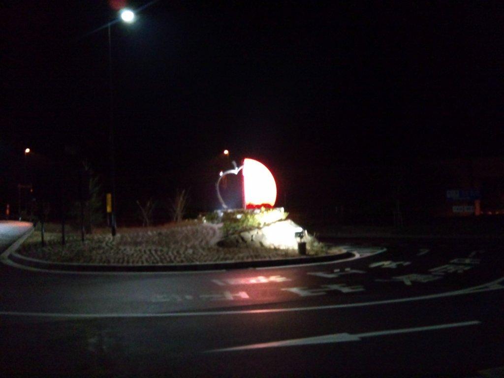 夜の尾道松江線「道の駅たかの」