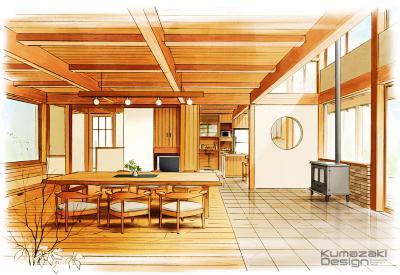 一戸建て住宅 リビング 内観パース 室内パース 手書きパース  インテリアパース インナーパース イラスト