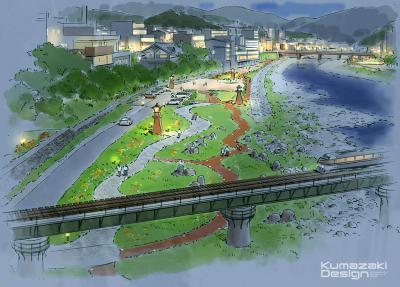河川公園 広場 イメージパース イメージスケッチ 水彩 フォトショップ