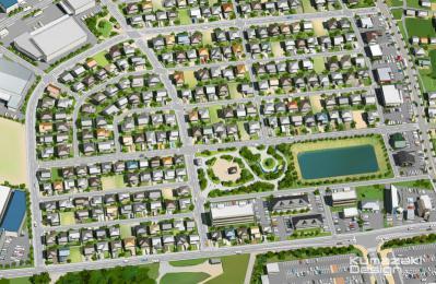 都市計画 総合計画 土地区画 区画整理 鳥瞰パース イメージパース イメージイラスト