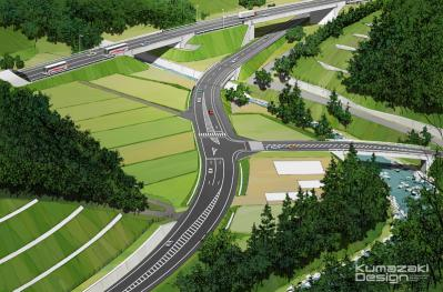 道路建設 土木工事 完成予想図 鳥瞰パース 手描きパース 手書きパース イメージイラスト フォトショップ