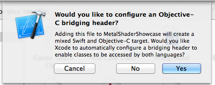 Xcodeの質問画面