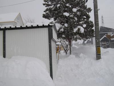 車庫屋根の雪、完了