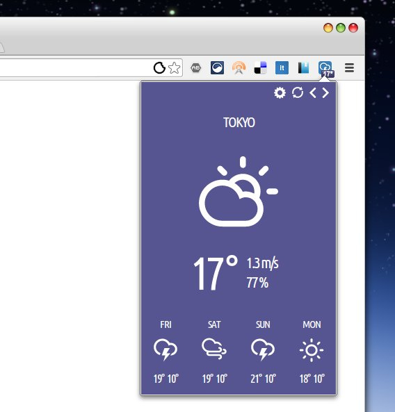 Stormcloud Chrome拡張 天気 気温