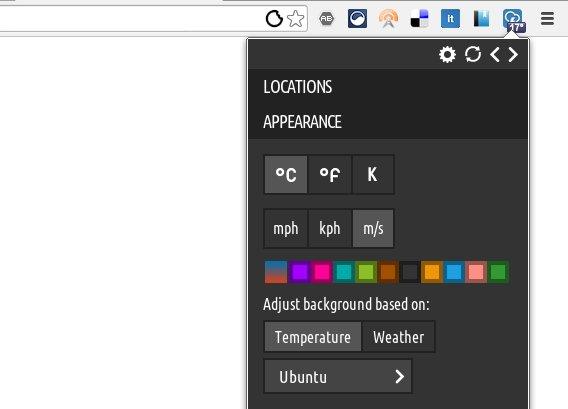 Stormcloud Chrome拡張 天気 気温 オプション