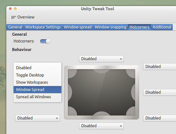 Unity Tweak Tool Ubuntu カスタマイズ ホットコーナー