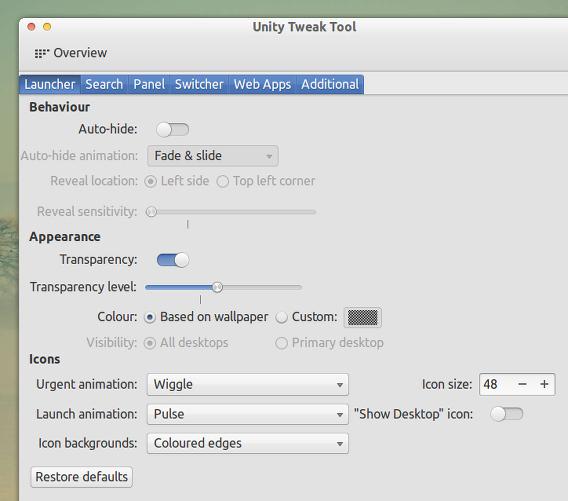Unity Tweak Tool Ubuntu カスタマイズ ランチャー